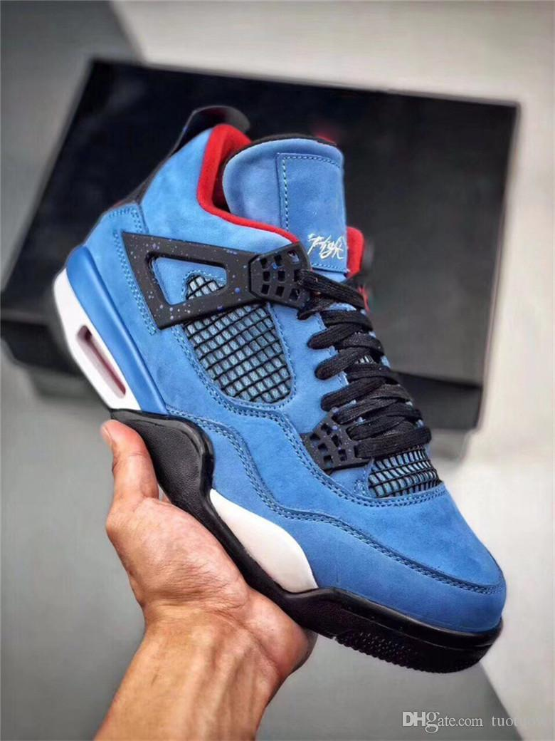 newest 3dc01 9d7af HOTTEST 2018 4 TRAVIS SCOTT CACTUS JACK HOUSTON OILERS BASKETBALL  SHOES,AUTHENTIC QUALITY BLUE BLACK 08497-406 SNEAKERS