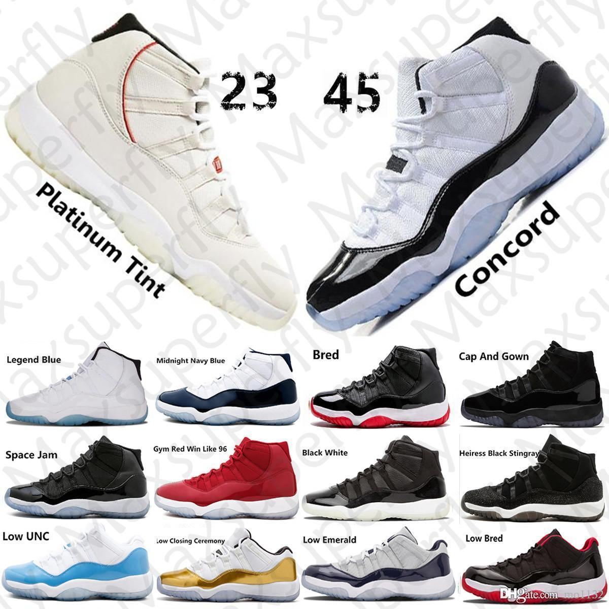 Jumpman Concord High 45 11 XI 11s Gorra y bata PRM Heiress Gym Red Chicago Platinum Tint Space Jams Hombres Zapatillas de baloncesto zapatillas deportivas