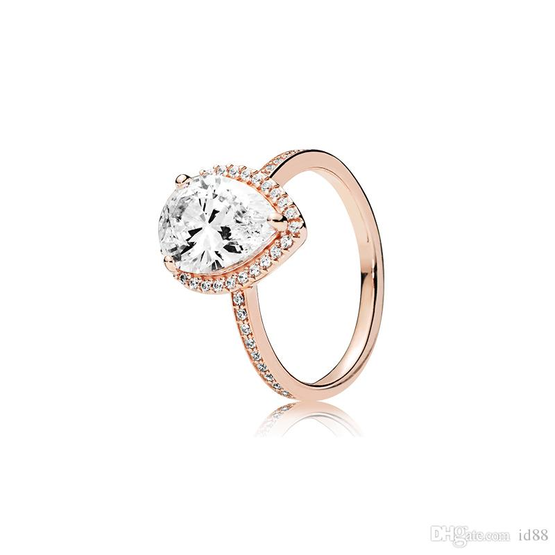 Real 925 Sterling Silver Tear drop CZ Diamond RING with LOGO and Original box Fit Pandora Rose Gold Wedding Ring Engagement Jewelry