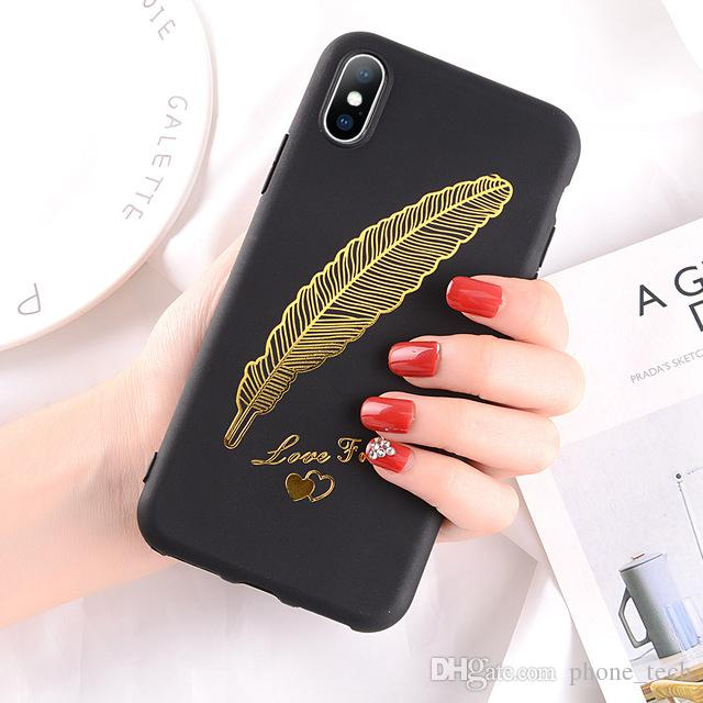 huge selection of c11b1 67cb0 Phone Case For iPhone 6 6s Plus X XR XS Max Fashion Feather Smiley Face  Soft TPU For iPhone X Cover Good
