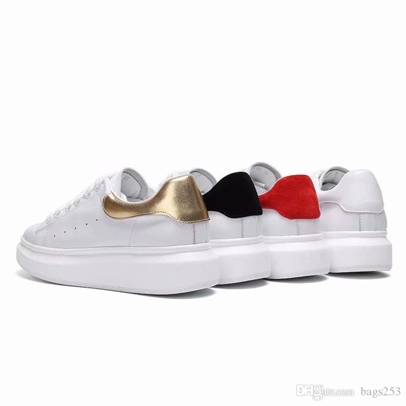 New Arrival Black white red luxury Fashion Designer Women Shoes Gold Low Cut Leather Flat designers Brand men womens Casual sneakers