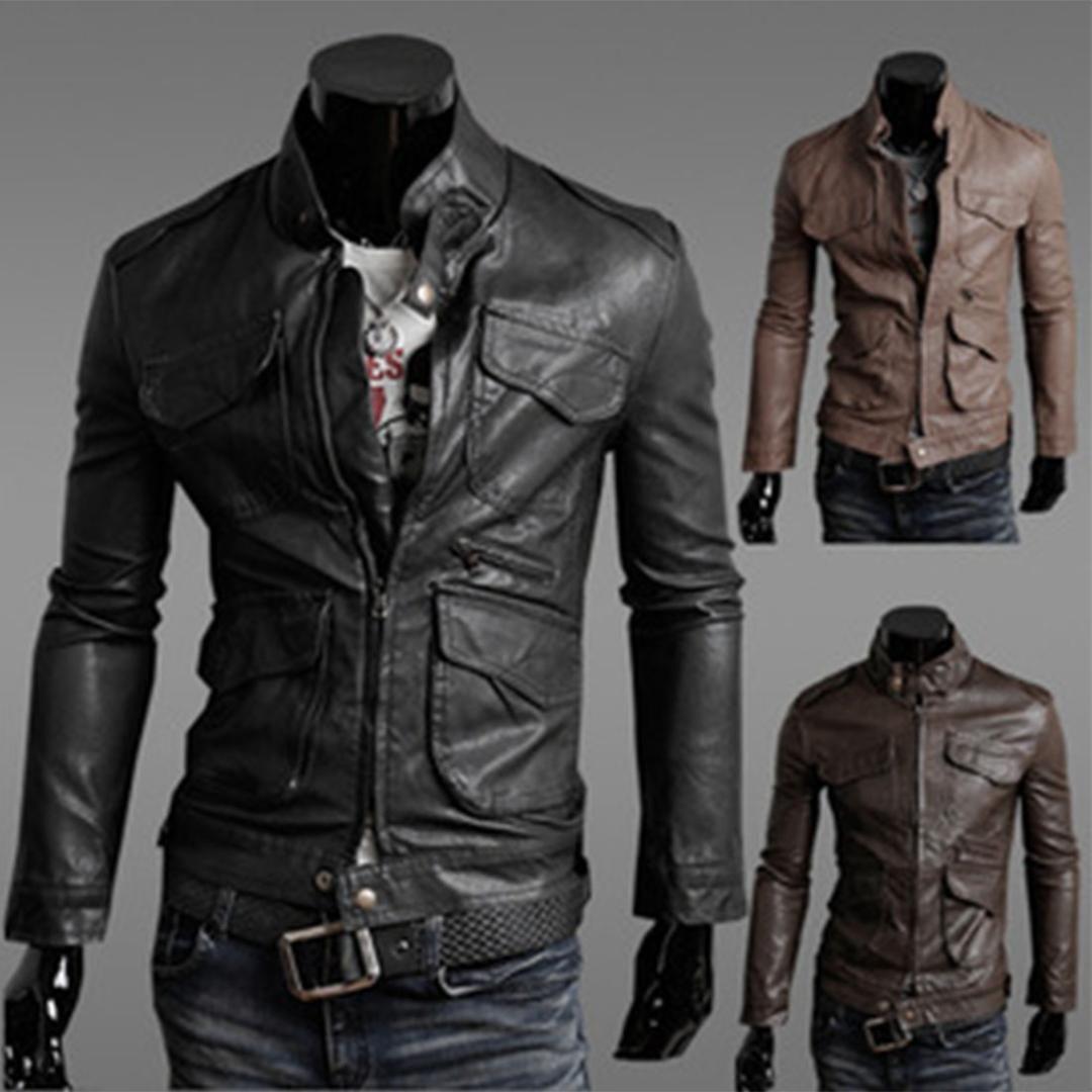 new styles ed972 195b7 Giacca uomo 2019 Vintage Classic Moto PU Giacche in pelle Uomo Slim Giacca  Moto Business Casual Cappotto maschile caldo Outwear