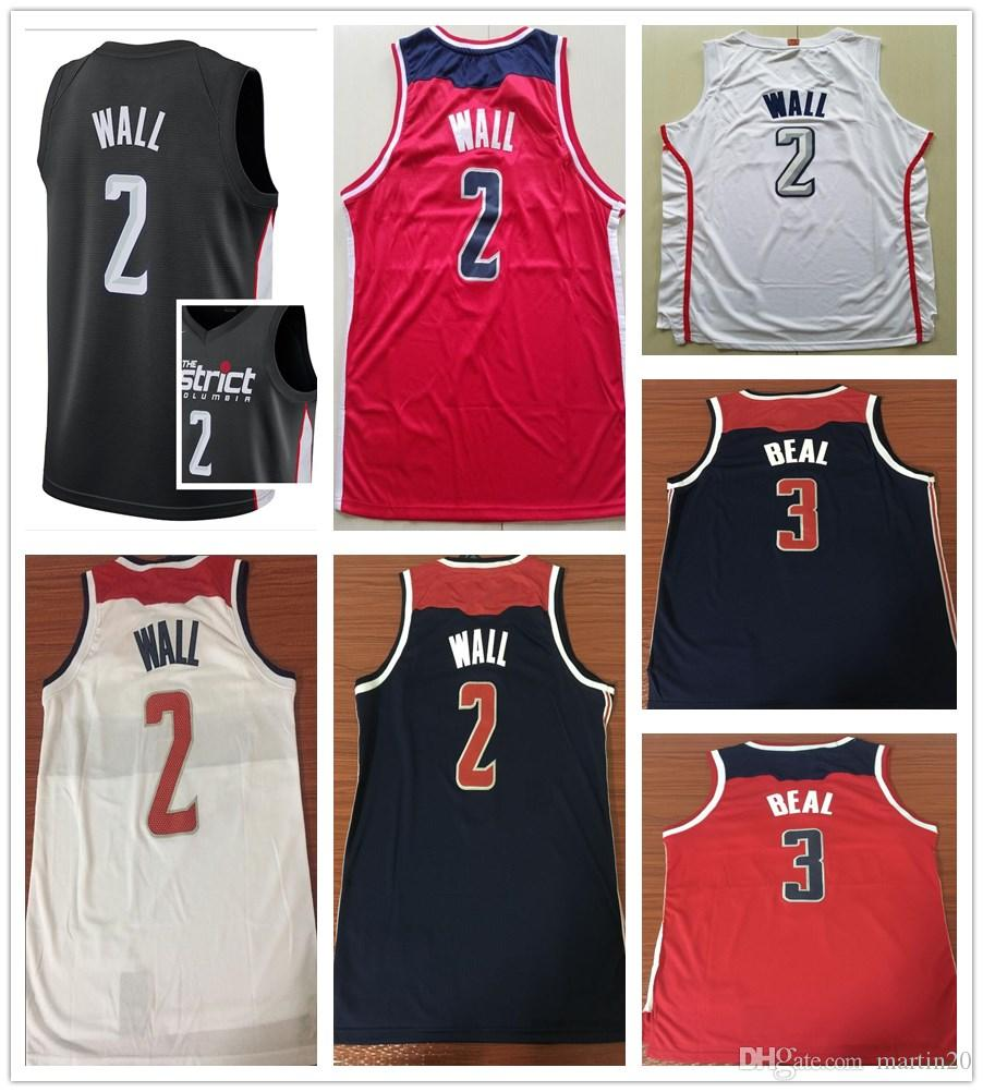 finest selection 7f92a 922a6 New City Edition Black 2 John Wall Jerseys Men Sportswear White Red Navy  Blue 3 Bradley Beal Jersey Stitched Breathable Shirts