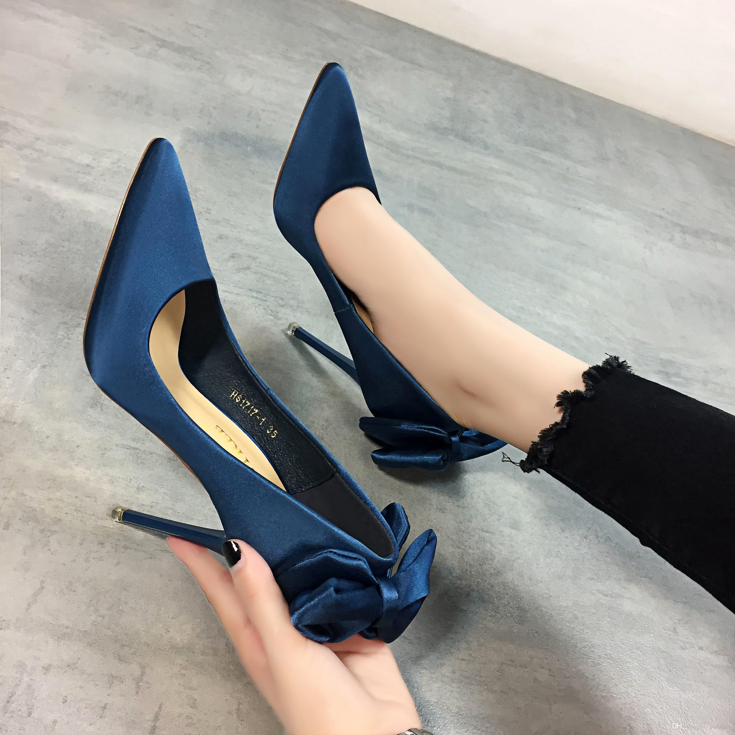 76154a9c231 Women Colored Luxury Wedding Shoes Pearl Bead Pointed Toe Stiletto ...