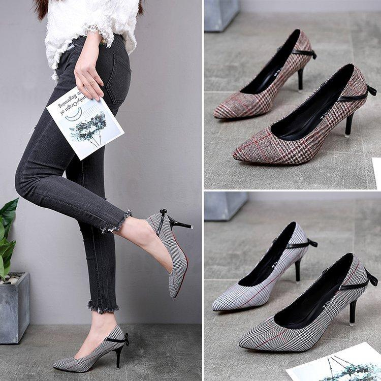 00ccc8f57f6 Ladies Pumps 2018 Chunky Heels Shoes Woman Round Toe Designer High Women  Bow Low Fashionlow Heels High Shoes Pums Womens Ladies Black Shoes Nude  Shoes From ...
