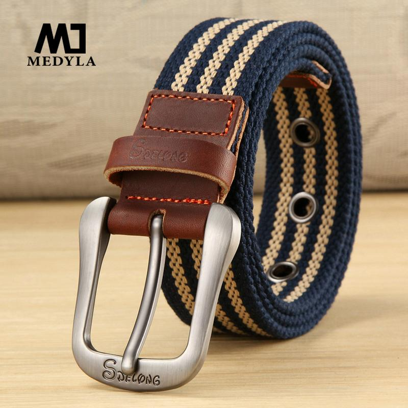 30a014dfb440 MEDYLA Canvas Belt Pin Buckle Belt Casual Pants Student Youth Training  Outdoor Plus Long 100cm To 140cm Bullet Belt Yellow Belt From Melontwo, ...