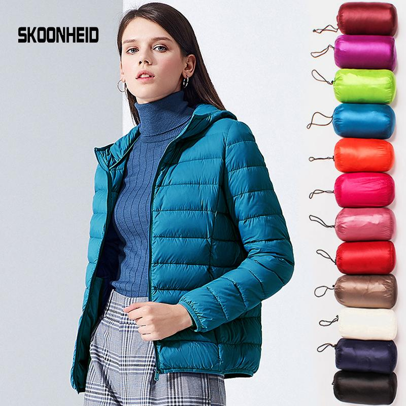 SINGRAIN Women Down Jacket Hooded 95% Duck Warm Overcoat Solid Portable Outerwear Large Size Ultra Light Down Coat Winter SH190930
