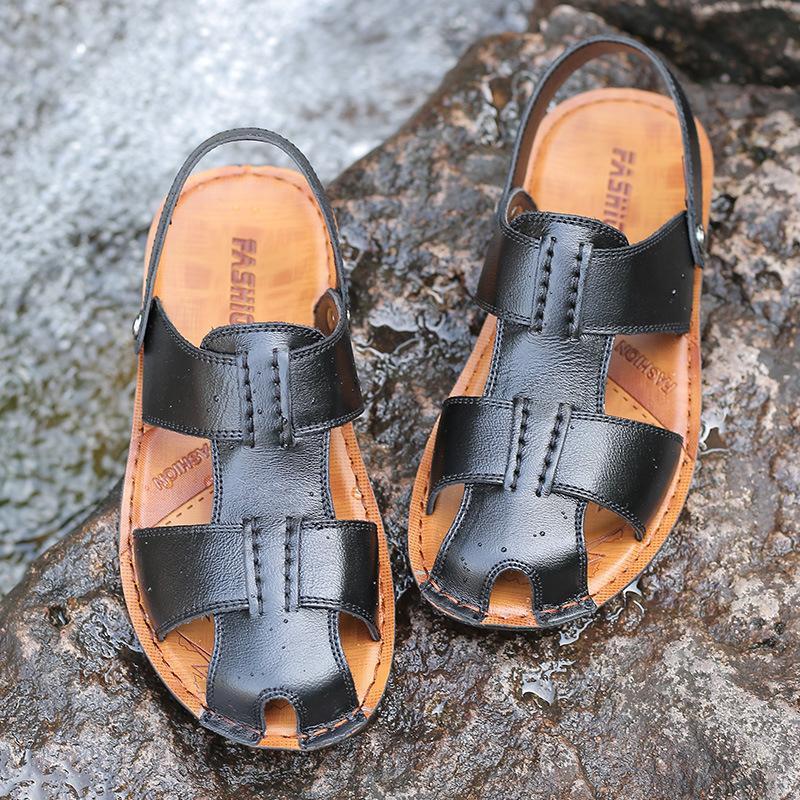 825f9d6888 Compre ZERO MAIS Sapatos Masculinos Grandes Tamanhos De Couro Dividir  Sandálias De Designer De Verão Chinelo Homens Sapatos De Praia Roma  Gladiador Slip ...