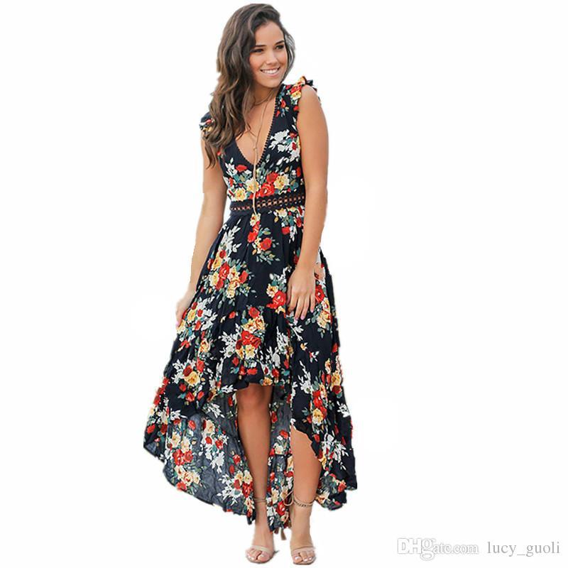 Col Été Longue Grande Robe Balançoire V Plage Femmes Vacances Imprimé Floral En Soirée Robes De Maxi Boho Bohemia CtQdshr