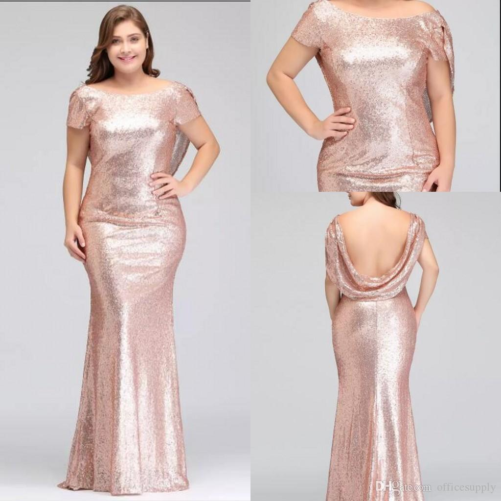 Rose Gold Plus Size Bridesmaid Dresses Long Sparkling 2019 New Women Elegant  Mermaid Sequined Evening Prom Party Celebrity Formal Dress Clothing Online  Shop ... 6286a5d2bf70