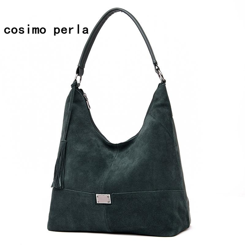 1f677a25292 Compre Moda Vintage Gamuza Bolsos De Mano De Cuero Para Las Mujeres De  Color Sólido Hobos Tote Borla Bolsos Diseñador De La Marca De Gran  Capacidad Bolsa De ...