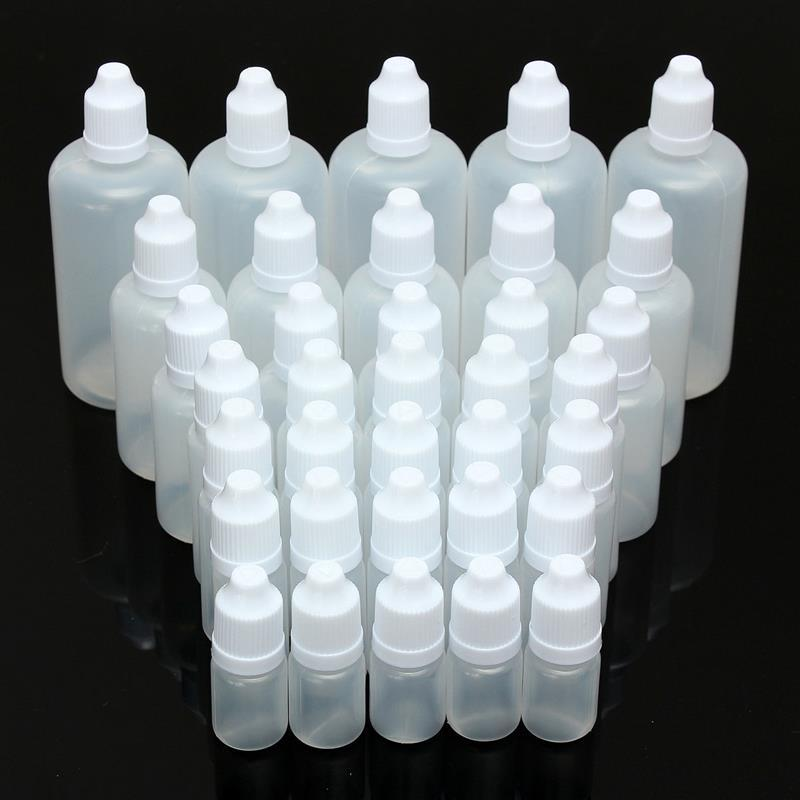 5/7pcs 5/10/15/20/30/50/100ml Empty Refillable Squeezable Dropper Bottles Eye Liquid Sample Eyes Drop Refillable Bottles