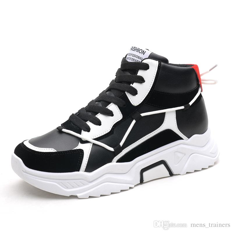 2020 new Men Womens Chaussures Shoe Black White Red Platform Casual Sneaker Trainer Shoes mens Leather Outdoor Sports size EUR 39-44