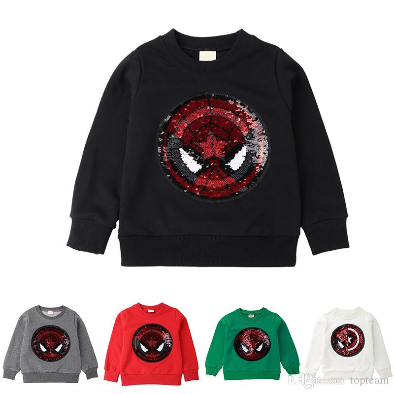 6f2954eb647 2019 Spider Man Reversible Sequin T Shirt Switchable Toddler Sweatshirt  With Sequins Shirts Children T Shirts For Boys Baby T Shirt TC190307W From  Topteam