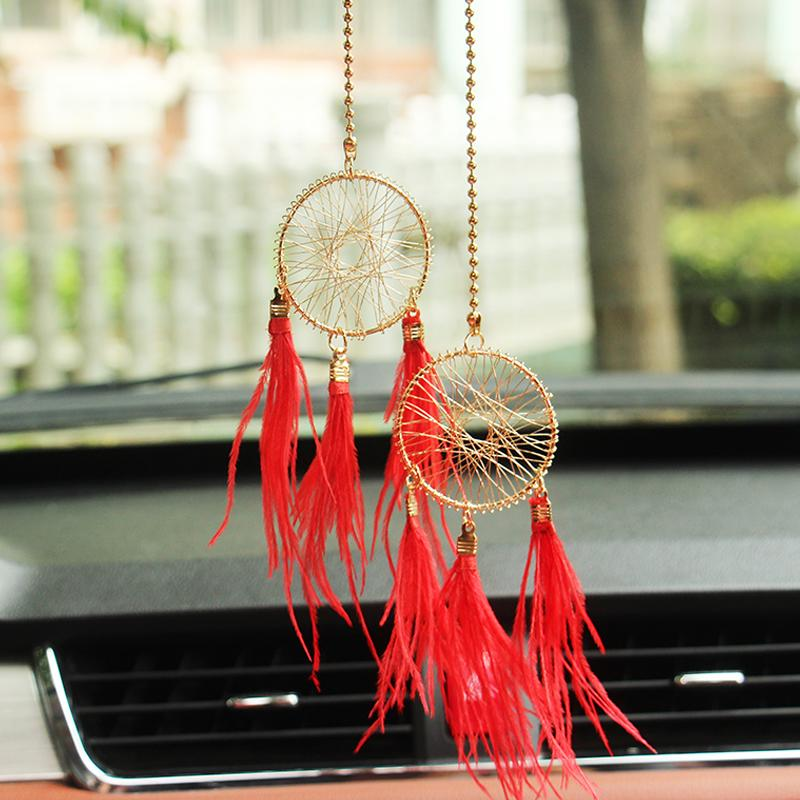 New Dreamcatcher Car Ornaments with Pearl Car Interior Ornaments Bling Hanger Accessories Auto Decor Red Blue