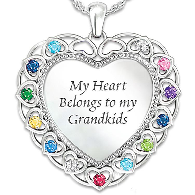 My heart blong to grandkids necklace Silver Crystal Heart Pendant Necklace for Family Grandma Jewelry Decoration