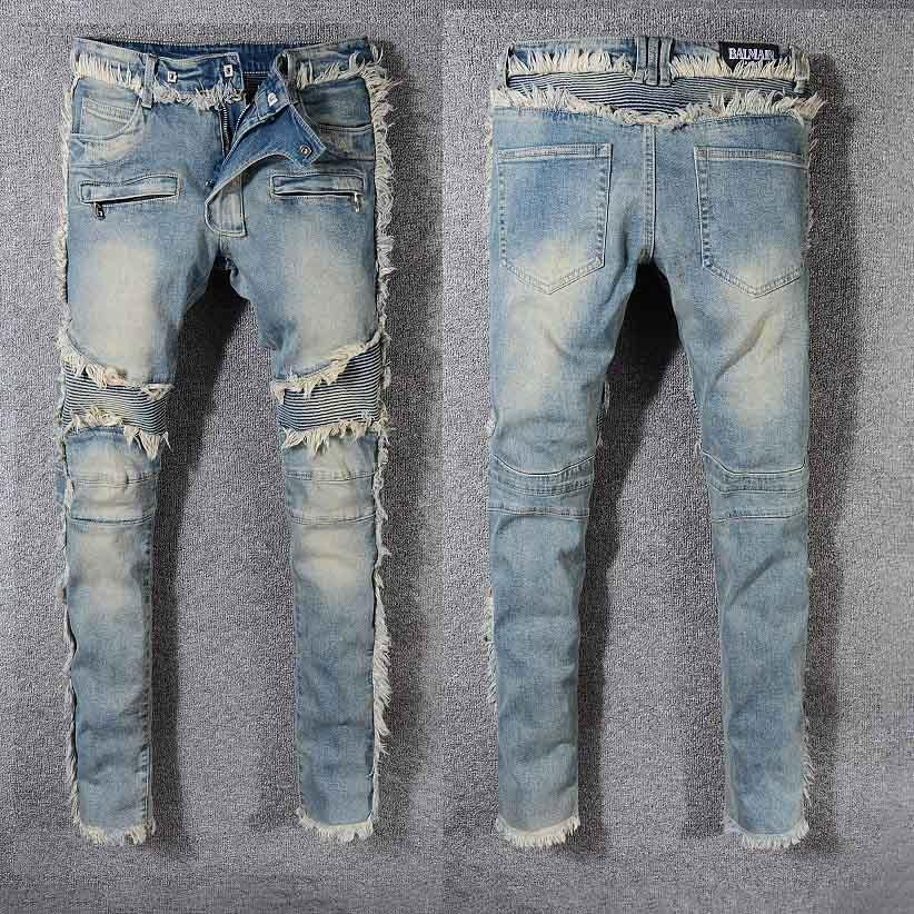 Mens Designer Jeans Moda Burr patchwork pattern Calças Trendy alta ST Brands Mens Hiphop casual wear Jeans Hot Sale