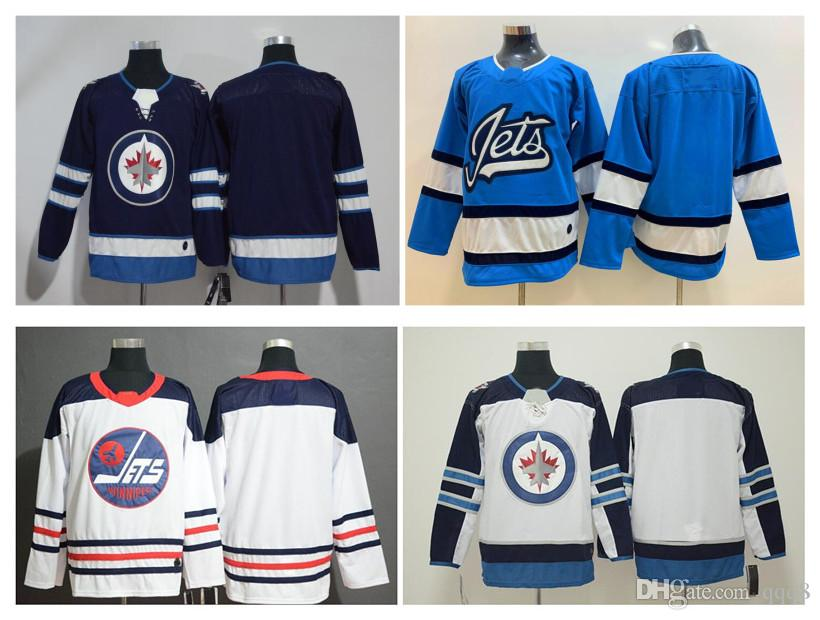 detailed pictures b271f 14ed1 2019 New Winnipeg jets Jersey Men Kids Women Blank No Name Number White  Blue Stitched Hockey Jersey