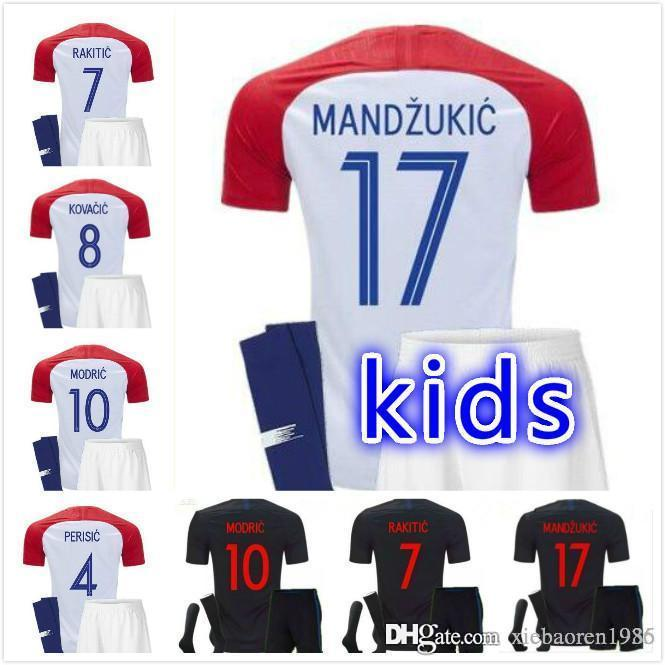 17d32d87 2019 Kids Kit 2018 Croatia Soccer Jerseys MODRIC PERISIC RAKITIC MANDZUKIC  REBIC BROZOVIC LOVREN VIDA Home Away Red White Youth Football Shirts From  ...