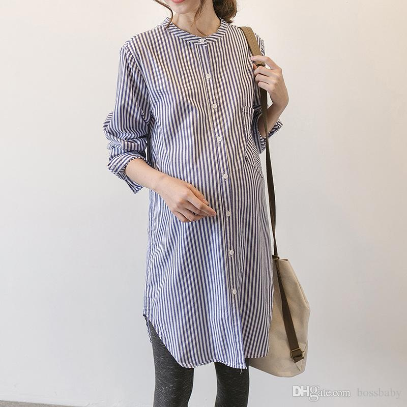 Pregnant Women Striped Dress Maternity Designer Clothes Pregnant Women Shirt Skirt Long Sleeved Maternity Top Standing Collar 19