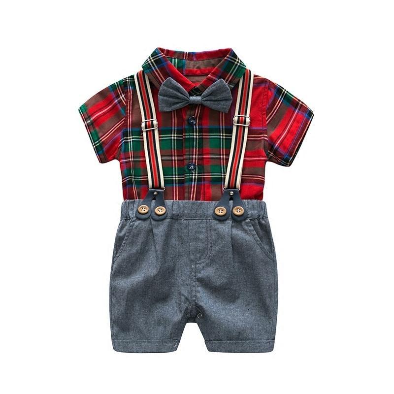 c386e3426 Compre A Cuadros Bebé Niño Ropa Verano 2019 Niños Recién Nacidos Conjunto  De Algodón Camisa De Manga Corta + Pantalones Cortos Ropa Infantil Conjunto  Rojo A ...