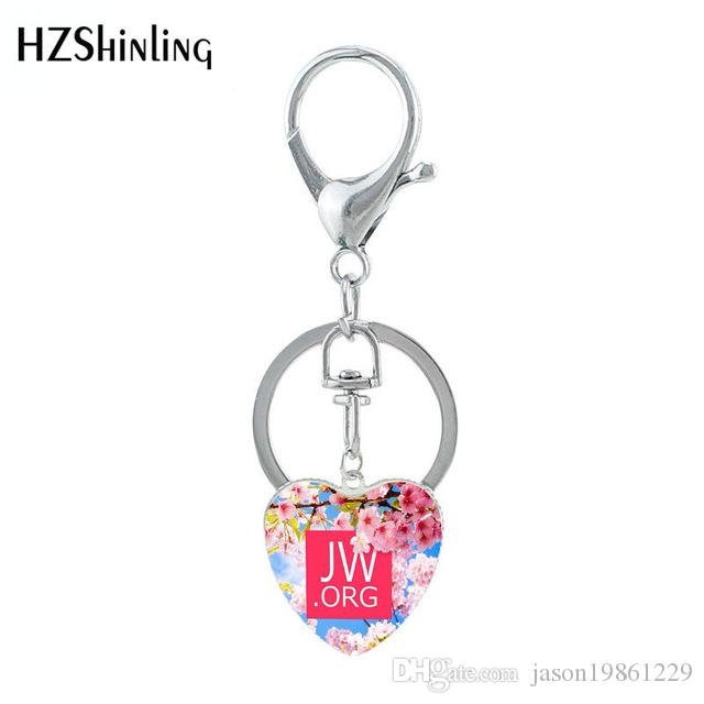 2019 New Butterfly Flower JW.ORG Heart Shaped Keychain Glass Dome Jehovah Pictures Keyring Gifts Jewelry