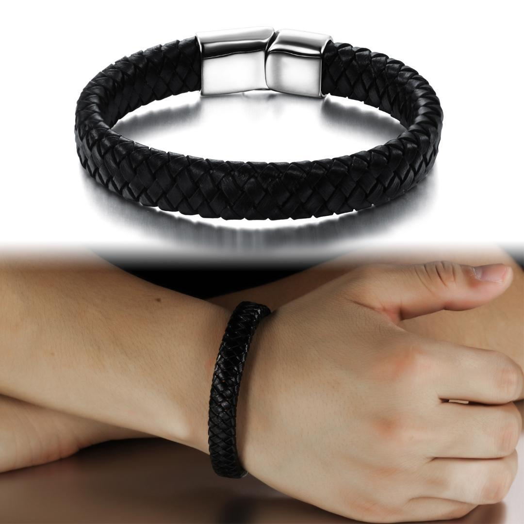 Fashion Genuine Leather Bracelet Magnetic Buckle Hand-Made Braided Bangles Wrist Gift For Men BoyFriend Father Friends Jewelry
