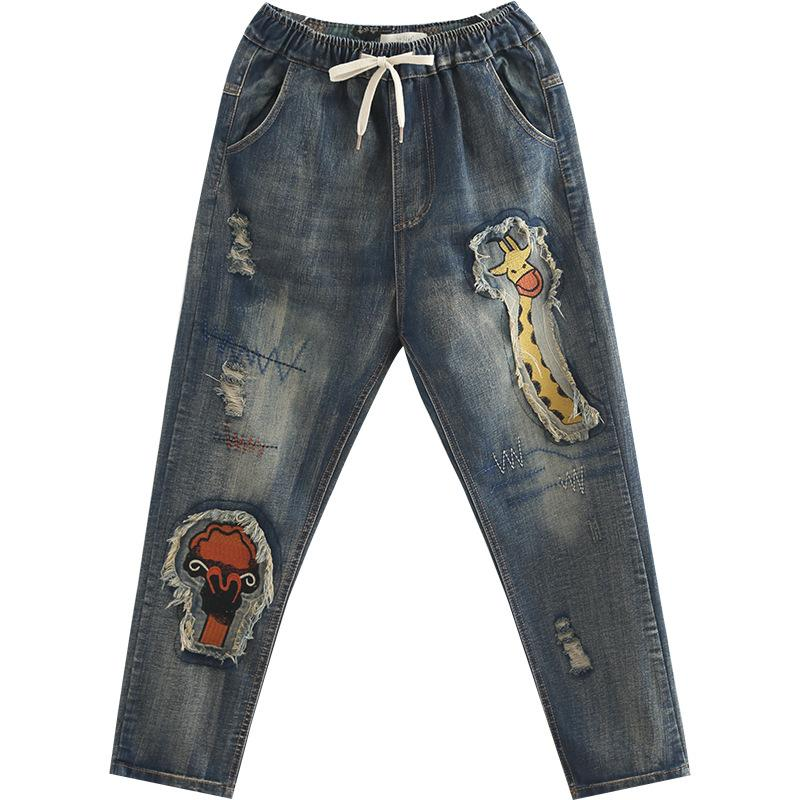 40b19bd3 2019 Mujeres Nuevo parche bordado Washed Jeans Moda Denim Jeans Pantalones  de mujer de talle alto