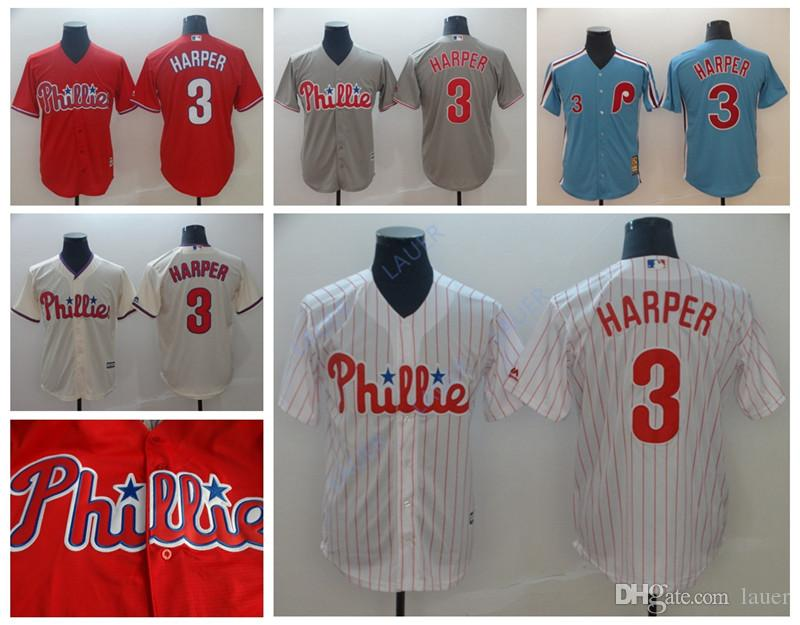 470c6054e 2019 Harper Men Women Youth Hot Sale Phillies 3 Bryce Harper Philadelphia  Retro Stitched Baseball Jerseys From Kensports