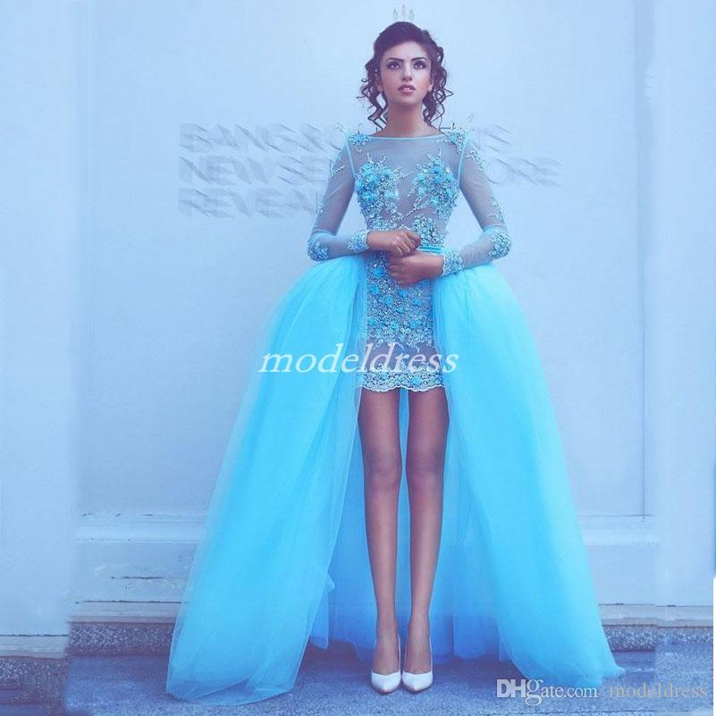 2019 Chic Sky Blue Sheath Prom Dresses With Detachable Train Long Sleeve Illusion Bodice Appliques Beads Formal Evening Party Gowns Cheap