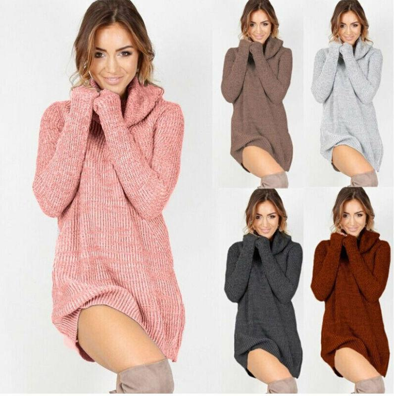 2019 Autumn And Winter New Womens Turtleneck Sweater Cowl Neck Loose Long Sleeve Oversize Sweater Jumper Tops