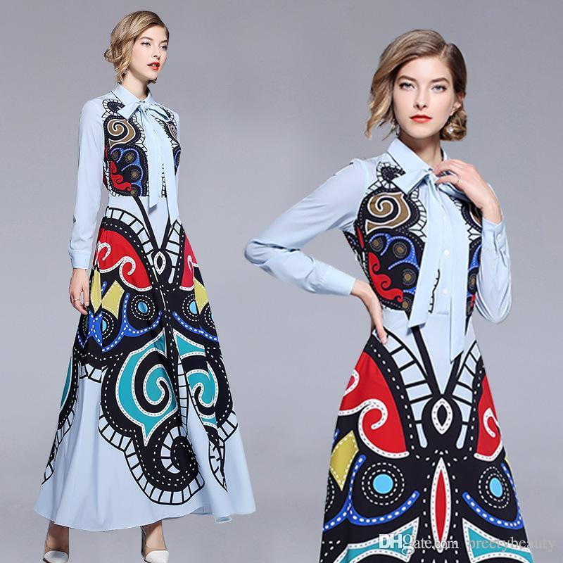 48fab8f5ab7 2019 Long Maxi Dress For Woman Lady Shirt Dresses Elegant Party Prom  Evening Gowns Lapel Neck Long Sleeve Print Maxi Tunic Dresses From  Preetybeauty, ...
