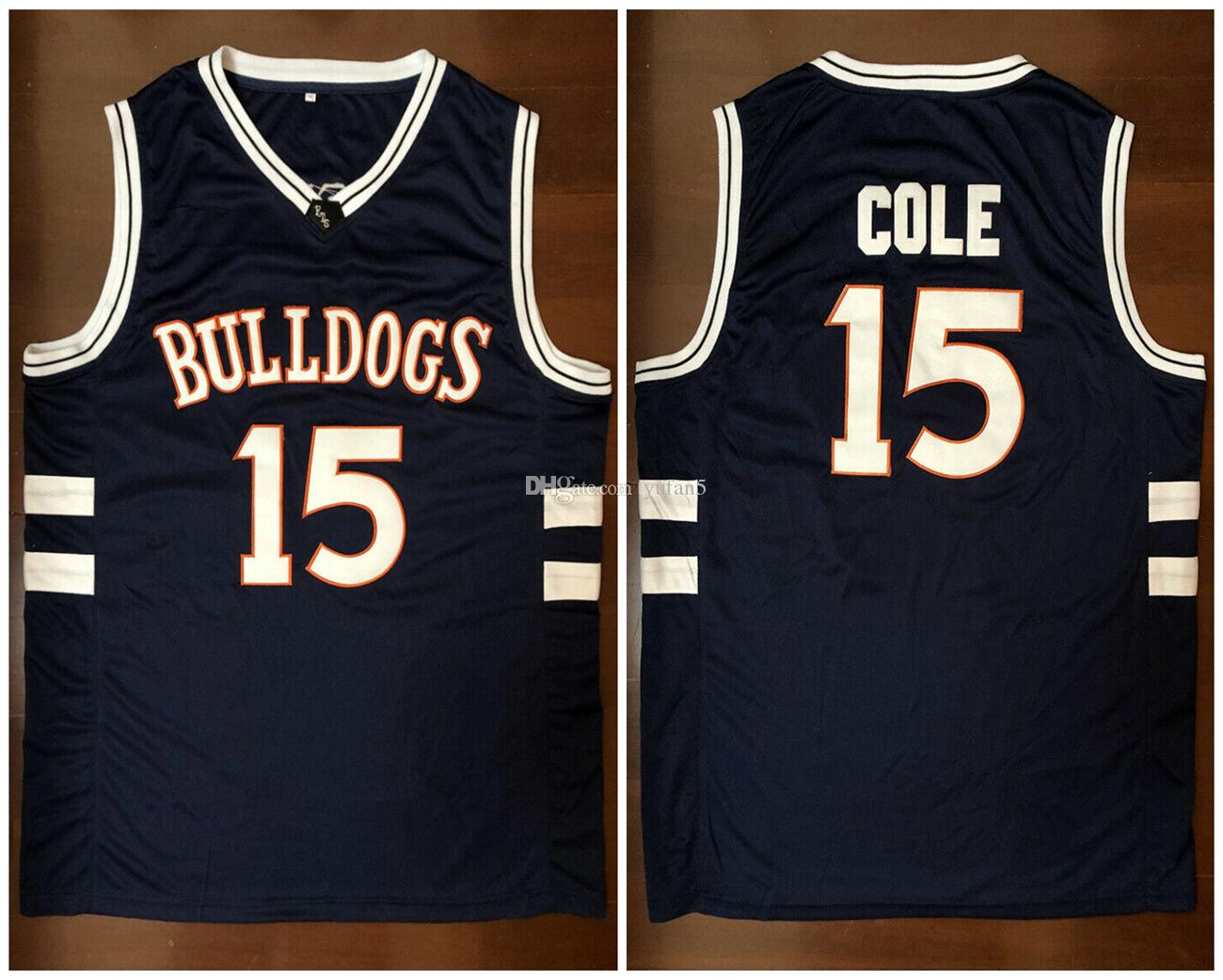 free shipping 30242 bfc86 J. Cole #15 Bulldogs High School Retro Basketball Jersey Mens Stitched  Custom Any Number Name Jerseys