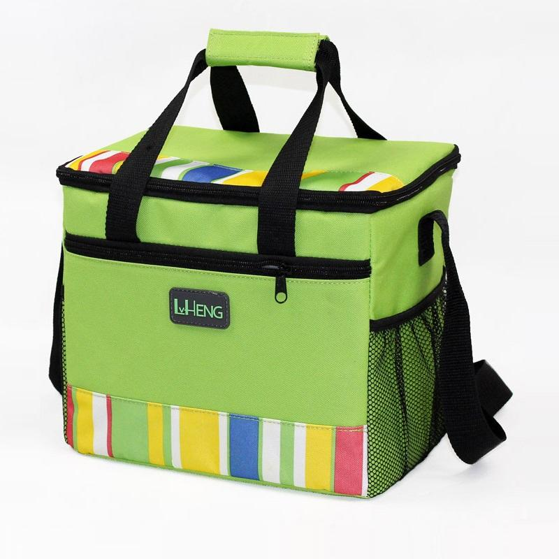 24-can Large Capacity Soft Lunch Cooler Bag Tote Insulated Green Stripe Outdoor Picnic Bag