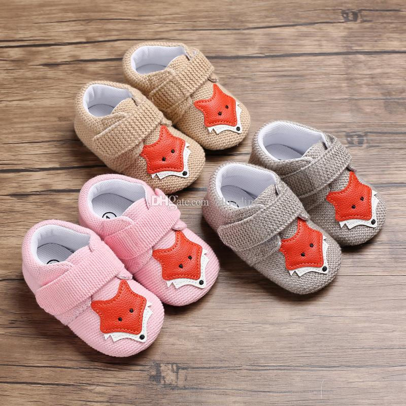 Kids Shoes cartoon infant fox Walkers 2019 Spring Autumn baby Girls boys Soft bottom First Walkers C5912