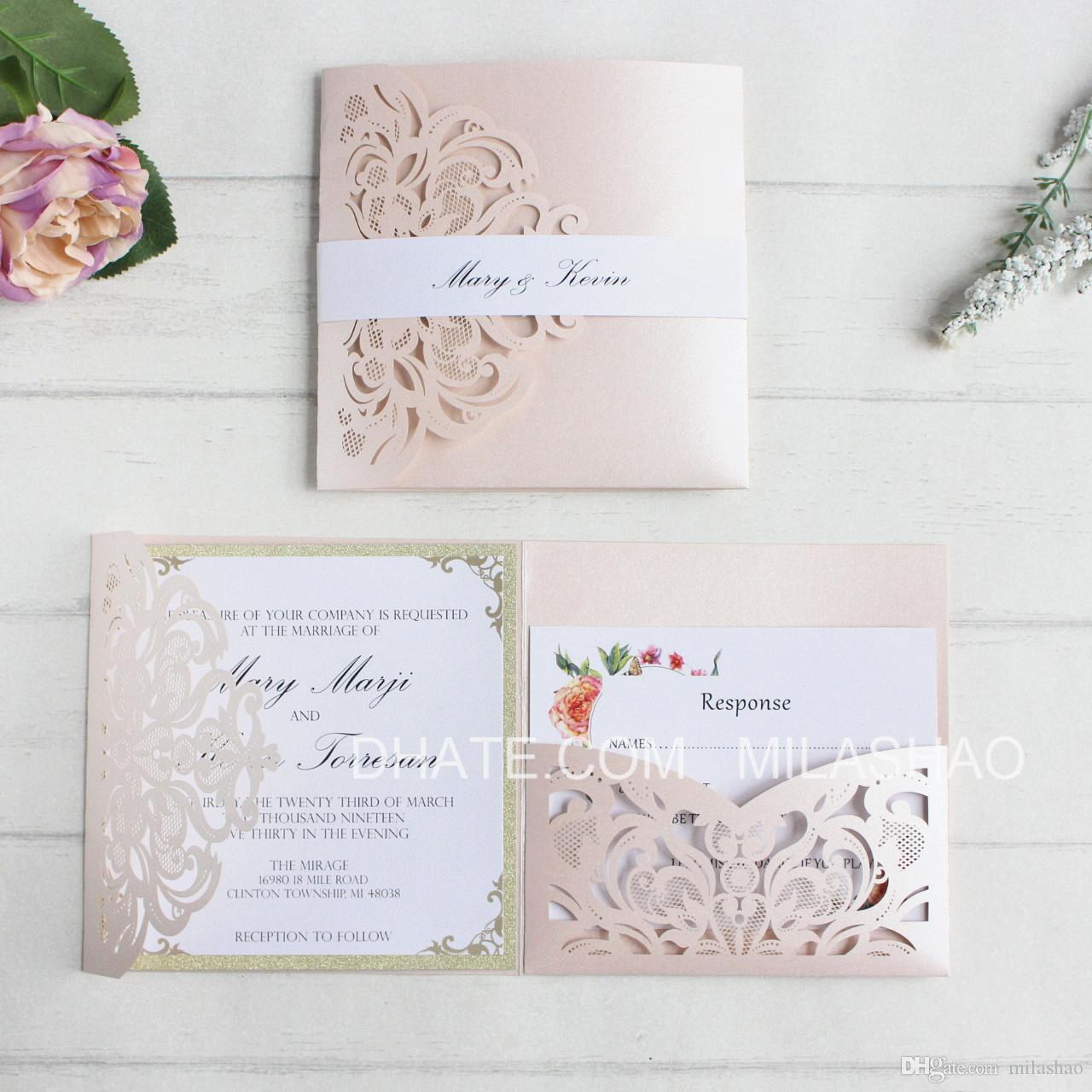 Flesh Pink Wedding Invitations Card Laser Pocket Bridal Marriage