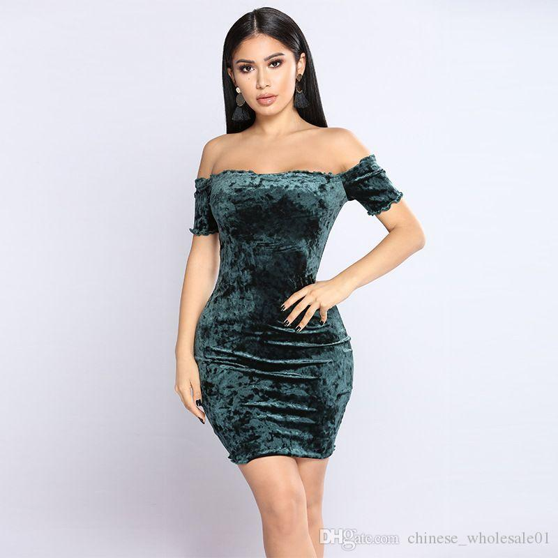 0fc20bbe87de8 2019 Home Clothing 2018 Winter Europe And America Women S Sexy Word  Shoulder Tube Top Dress Nightclub D From Chinese wholesale01