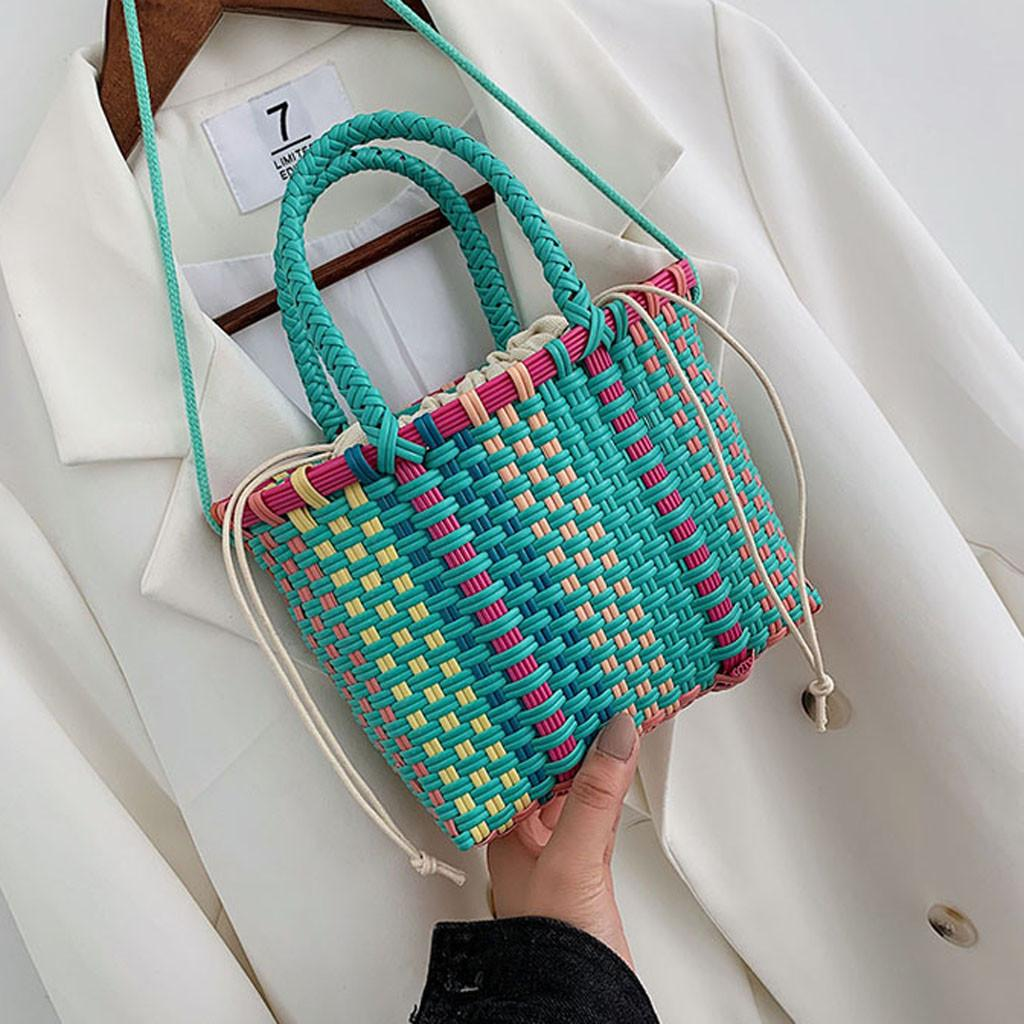 Fashion Women Beach straw bag luxury handbags women bags designer Basket Striped Hand Knitted ladies hand bags bolso mujer