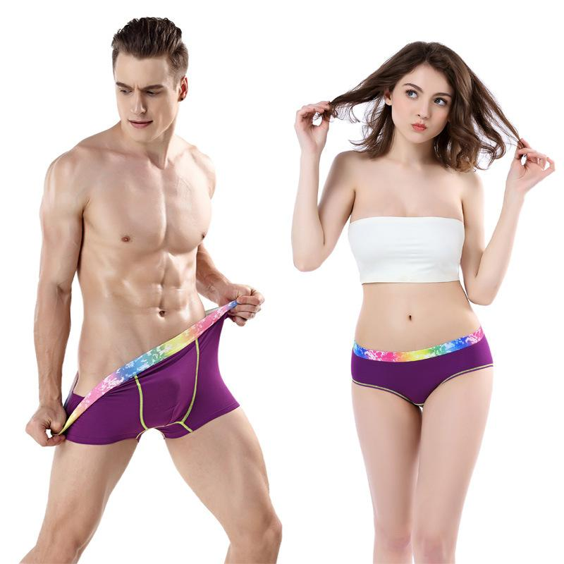 New multi-color couple underwear sexy female underpants personality male boxer pants breathable stretch couple underwear