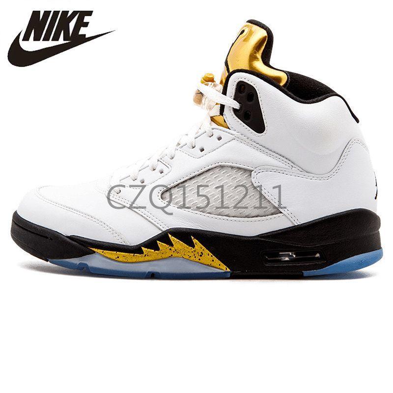 d96c7d5615a5 2019 Nike Air Jordan 5 Retro Olympic AJ5 Joe 5 V Jordans Sneakers Olympic  Gold Medal In Men Women Basketball Shoes Airs Original Comfortable Trainers  ...
