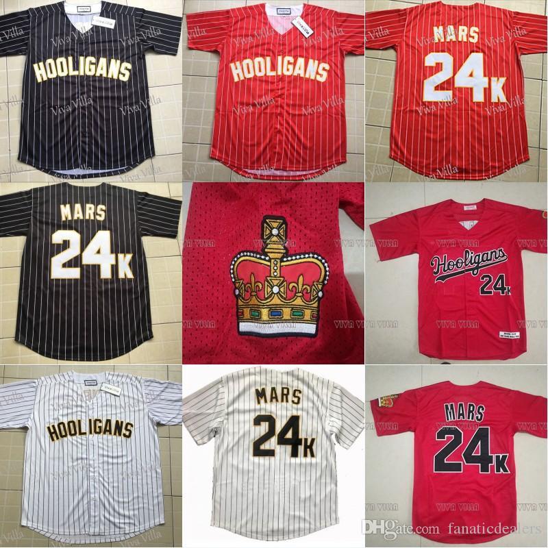 a5c4496852 Compre Bruno Mars 24 K Hooligans Camisola De Beisebol Todos Os Homens  Costurados Camisas De Beisebol Do Filme Vermelho Preto Branco S 3XL Frete  Grátis De ...