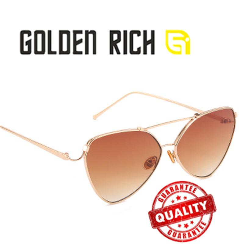 dedc9b34bb67 GOLDEN RICH 2018 Fashion Sexy Ladies Cat Eye Sunglasses Women Fashion Clear Red  Eyewear Metal Frame Sun Glasses For Female UV400 Glass Frames Online ...