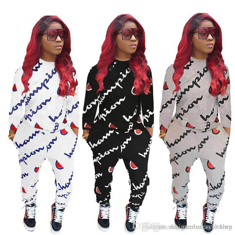 6895e3f96456 Marca de moda Conjuntos de ropa para mujer Otoño O-cuello Letras Impreso  Sudaderas con capucha Pantalones Chándales GRANDES Trajes de impresión C