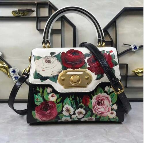Designer- D o G o Italy 2019 new leather printed rose printed fashion hand shoulder bag 24cm