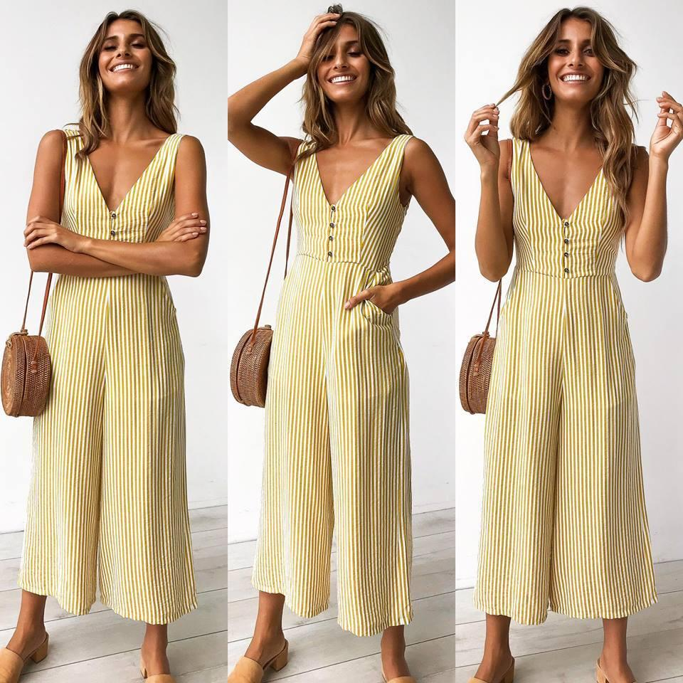 11486f06c315 2019 New Style Sexy Sleeveless Hanging V-neck Striped Button ...