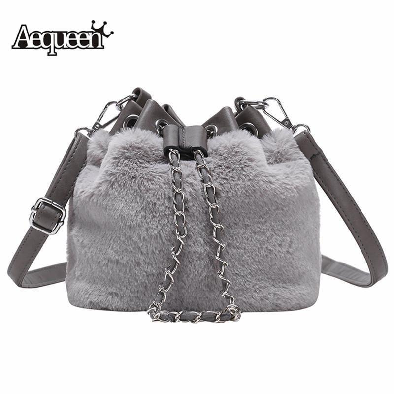 Pop2019 AEQUEEN Luxury Women Handbag PU Leather   Faux Fur Messenger Bag  Female Shoulder Crossbody Bag Tote Bucket Feminine Bolsa Purses On Sale Men  Bags ... 12e91fed0f49a