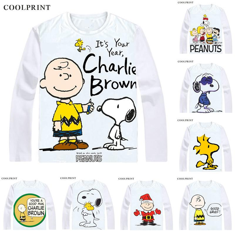 PEANUTS T Shirt Charlie Brown Woodstock Charles Monroe Sparky Schulz Anime  Custom T Shirt Casual Vintage Print Long Sleeve TShirts Buy Funny Shirts ...