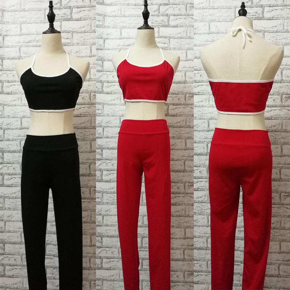 Casual Active Summer Clothes Sets Women Ladies Set Sleeveless Belt Short Length Vest Tops Elastic Waist Pants Solid Sets