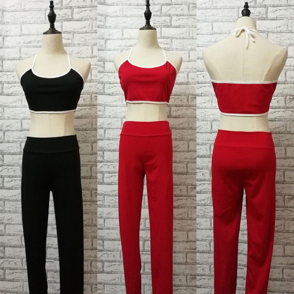 Casual Ativo roupas de verão Define Mulheres Ladies Set mangas Belt Curto Comprimento Vest Tops Calças Elastic cintura Conjuntos Sólidos