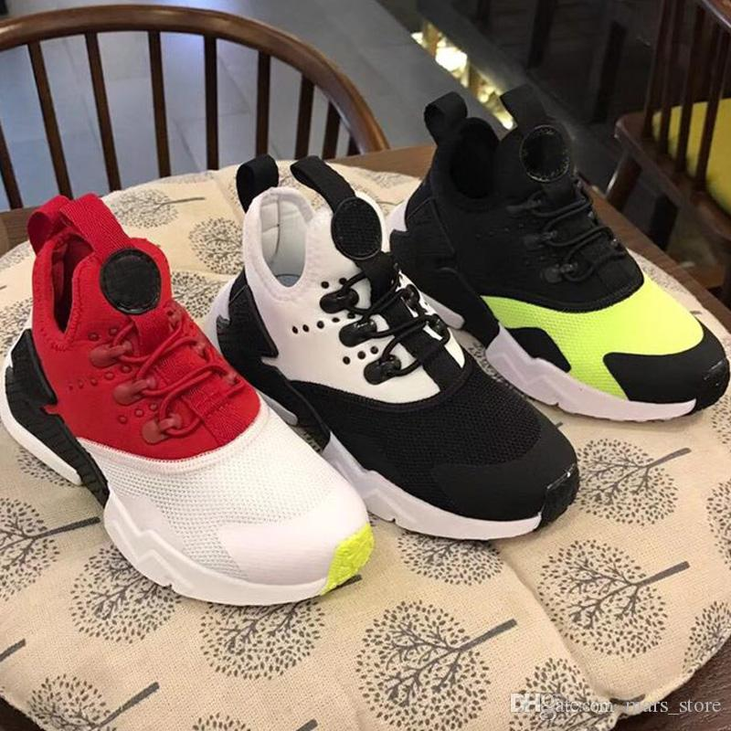 f49453bf386 2018 Black Red Air Huaraches Kids Running Shoes For Boys Girls White Blue Sneakers  Huarache Children S Trainers Sport Shoes Size 11C 3Y Kids Tennis Sneakers  ...